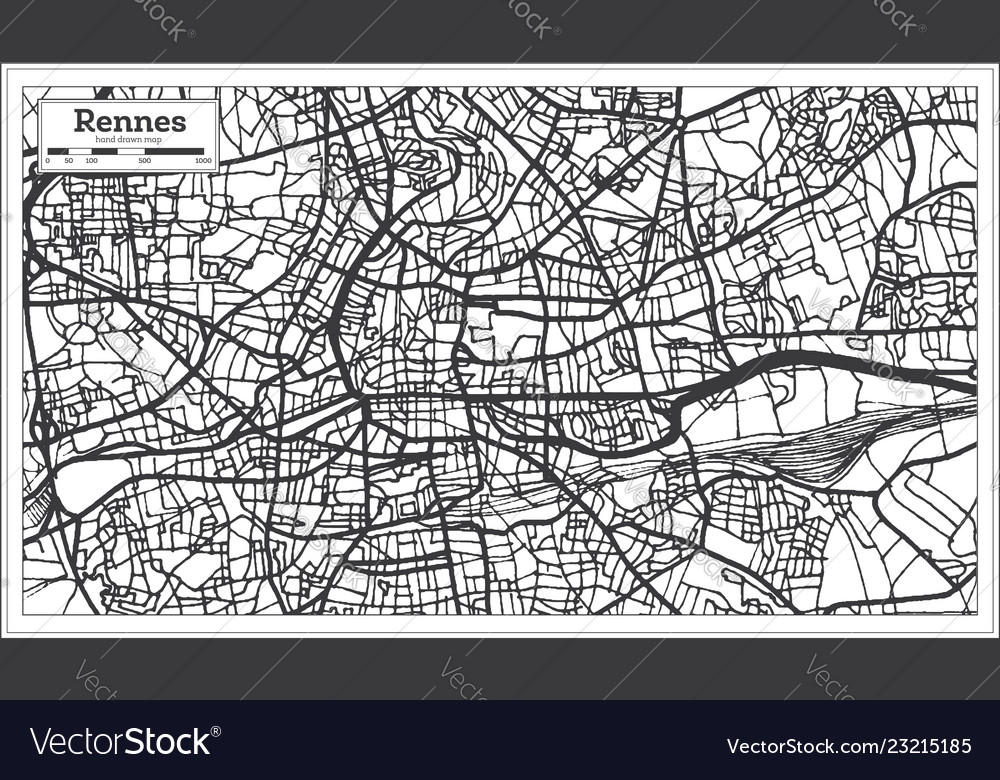 Rennes France City Map In Retro Style Outline Map Vector Image