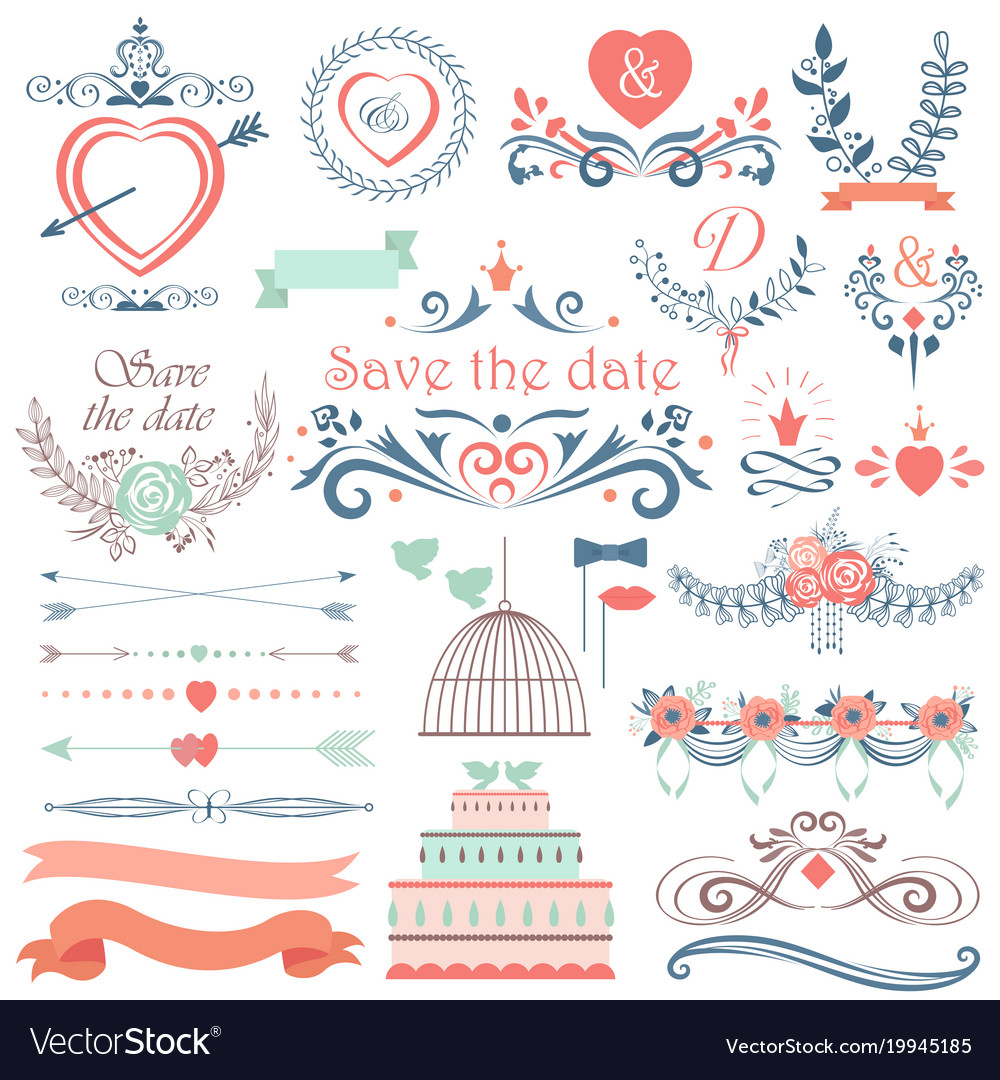 Romantic hand drawn wedding graphic set of