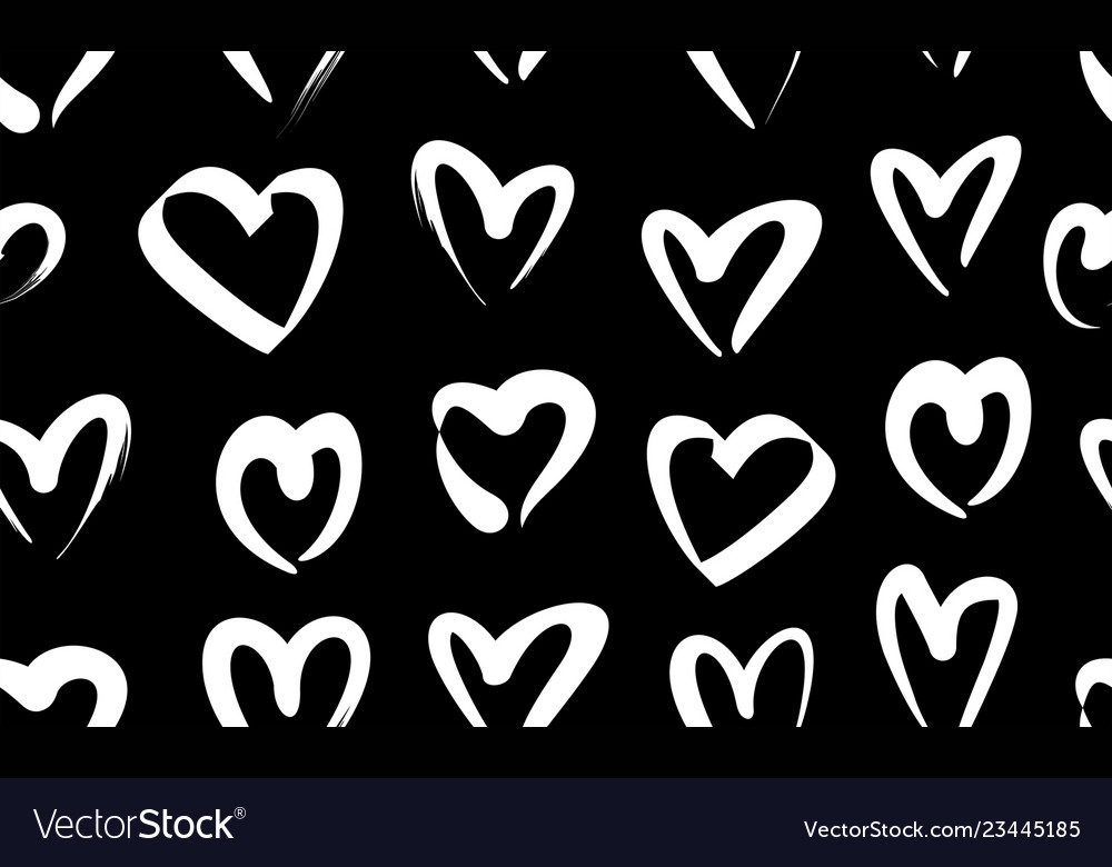 Seamless pattern with white hand drawn hearts
