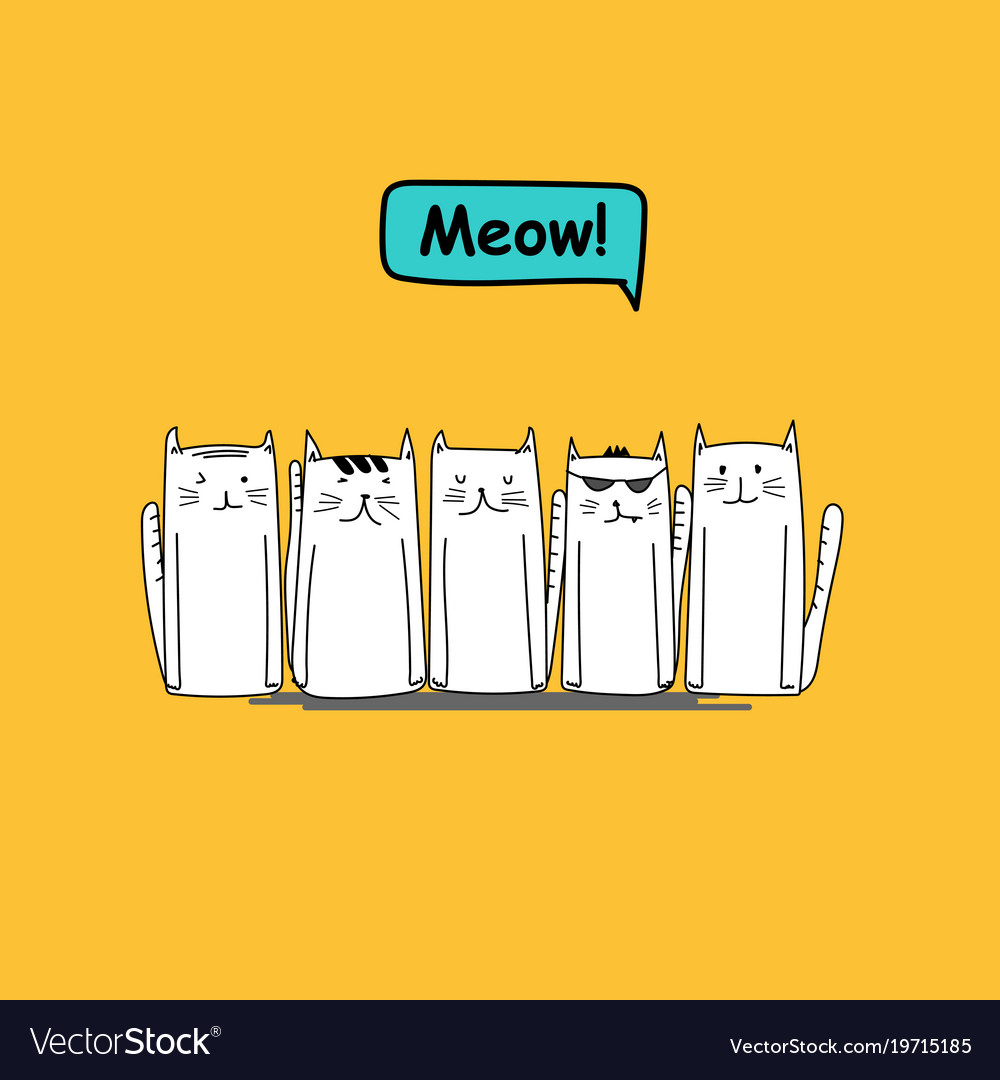 Set of character cute cat on yellow background