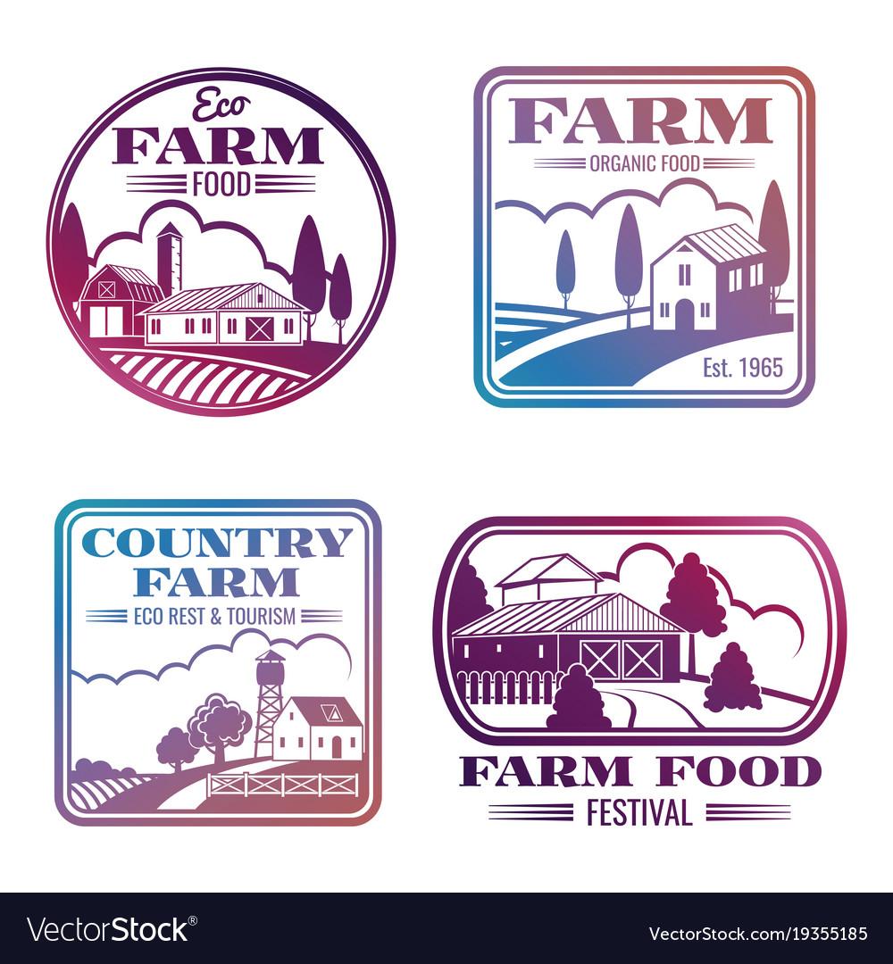 Vintage colorful farm logos and labels set