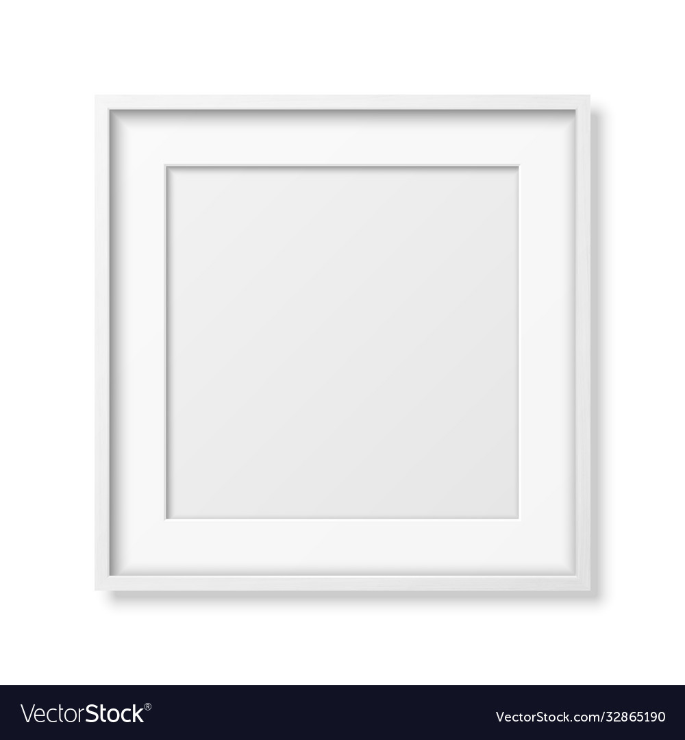 3d realistic square white wooden simple