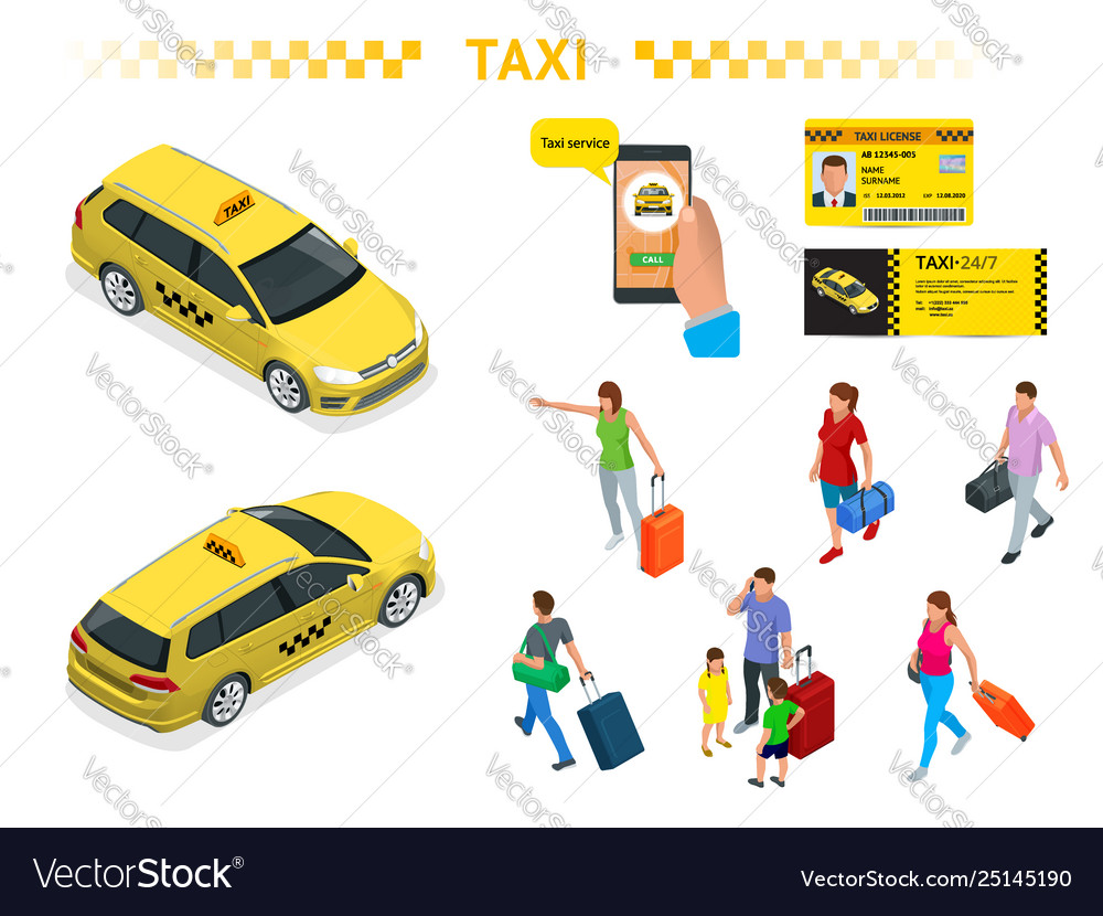 A large set isomeric images a taxi car