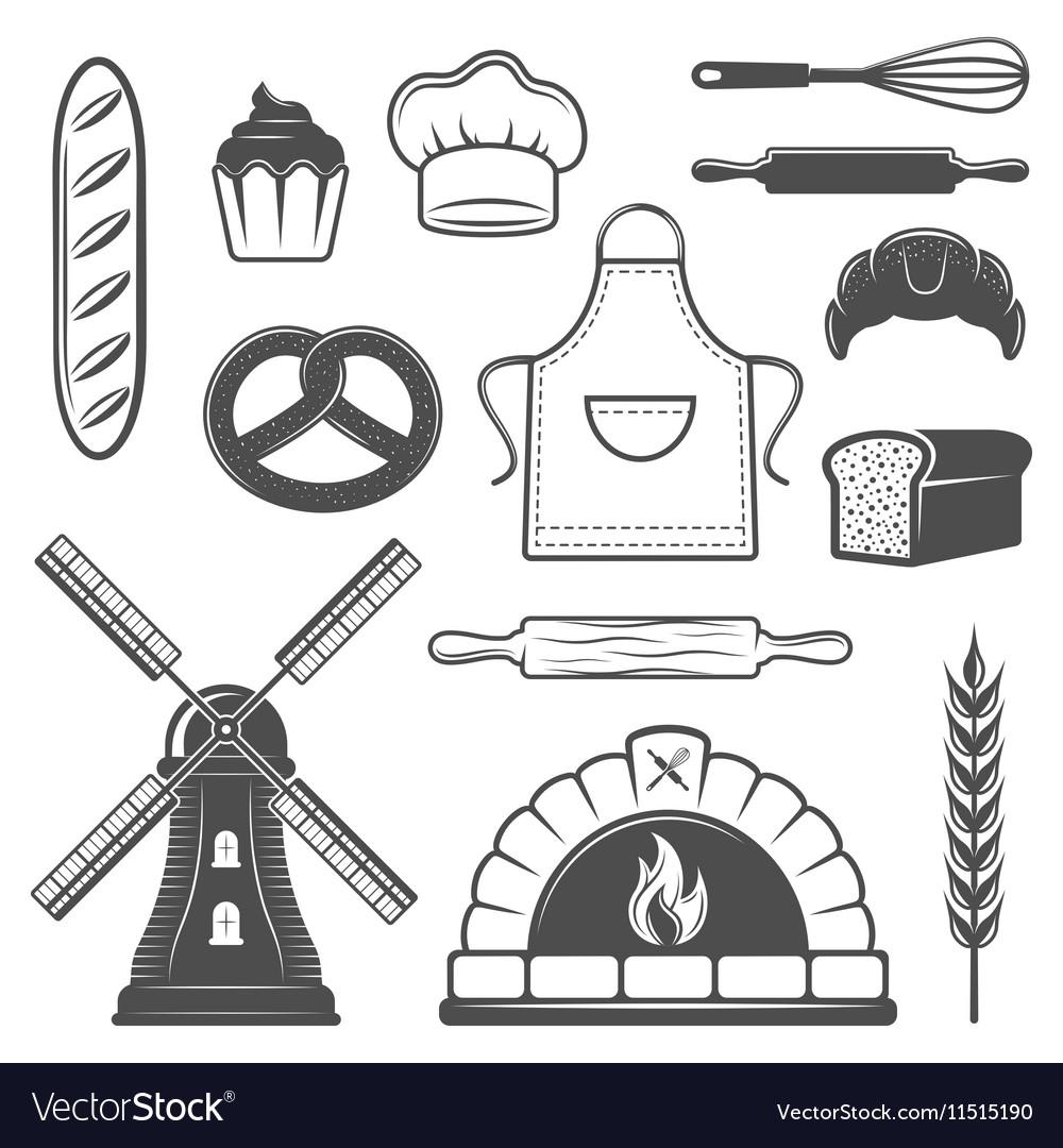Bakery Monochrome Elements Set vector image