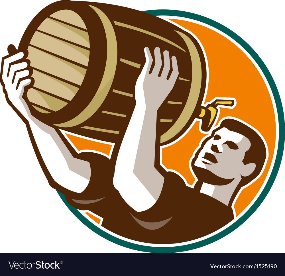 Bartender Pouring Drinking Keg Barrel Beer Retro vector image