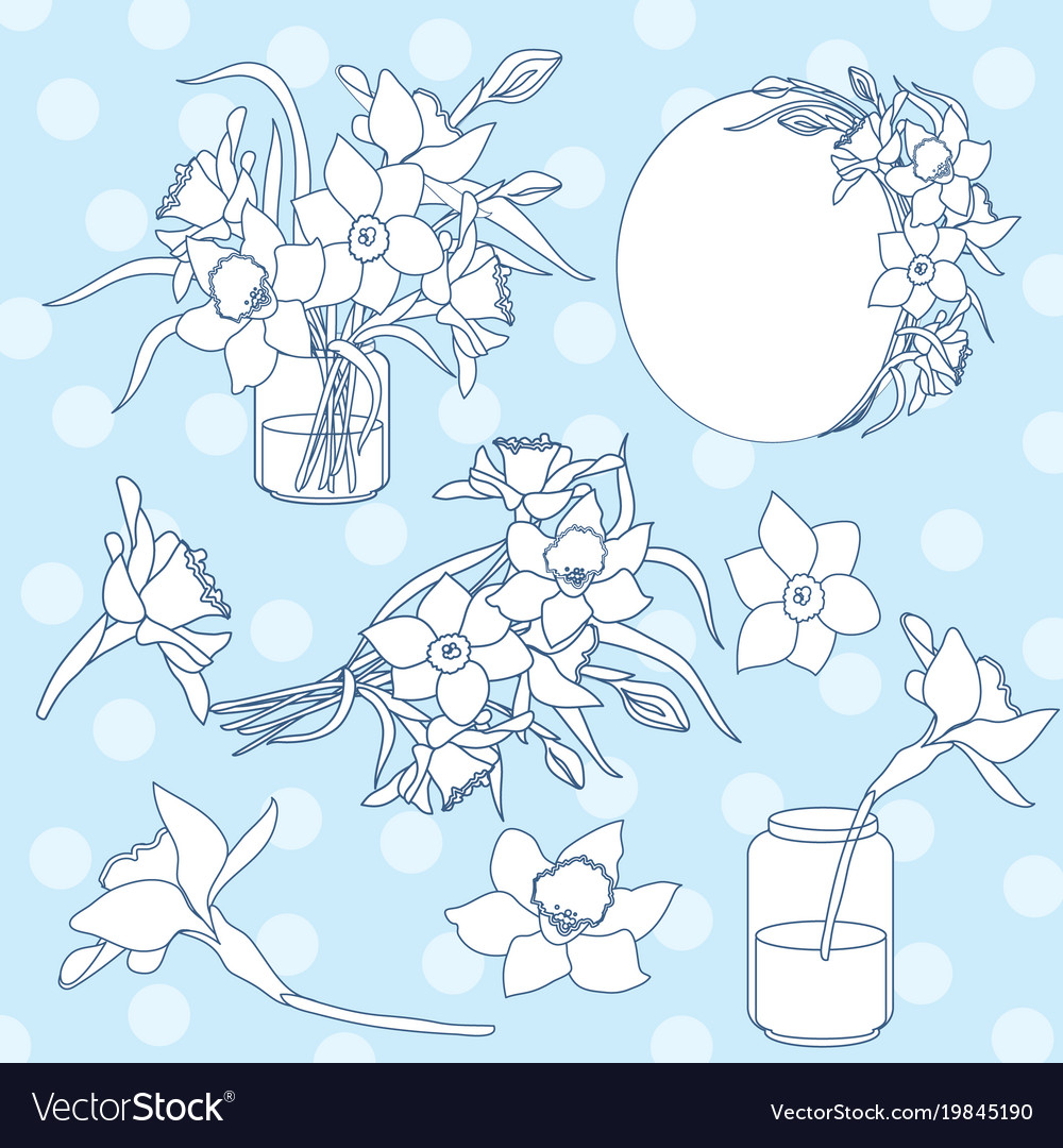 Black and white ink isolated clipart set