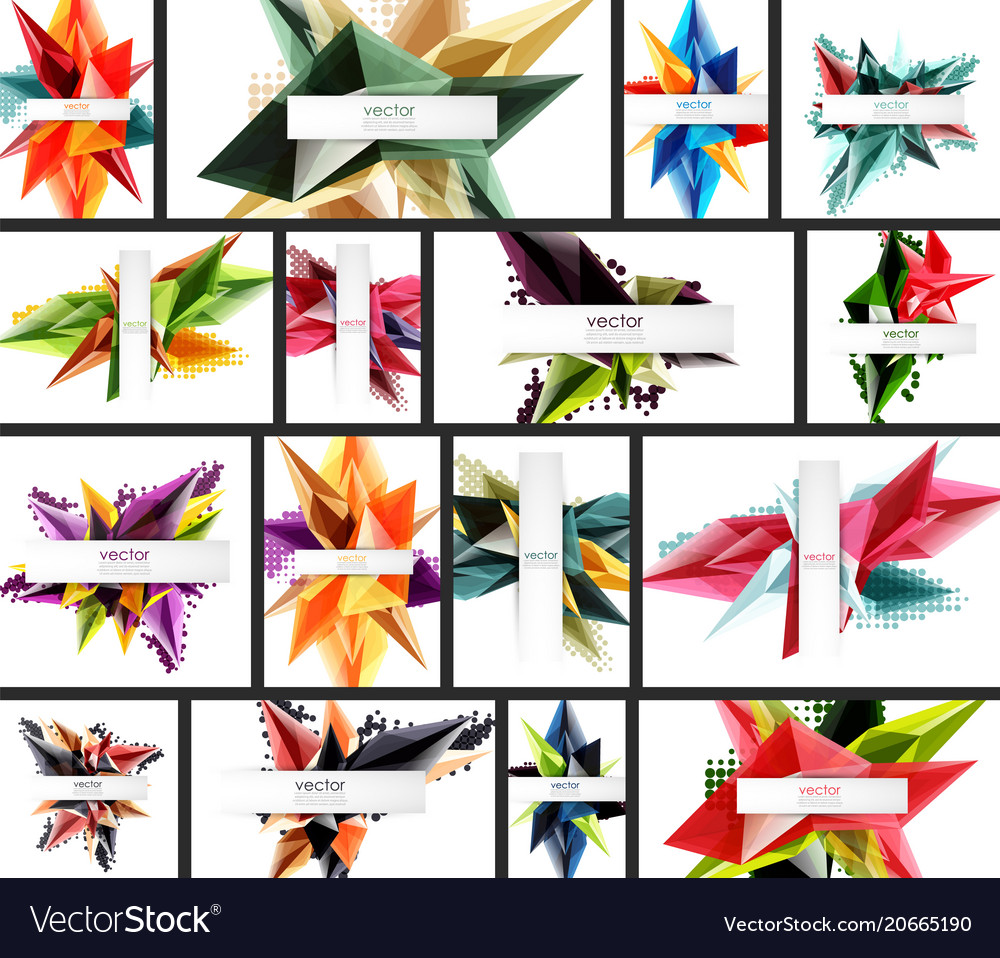 Collection of crystal 3d shape abstract
