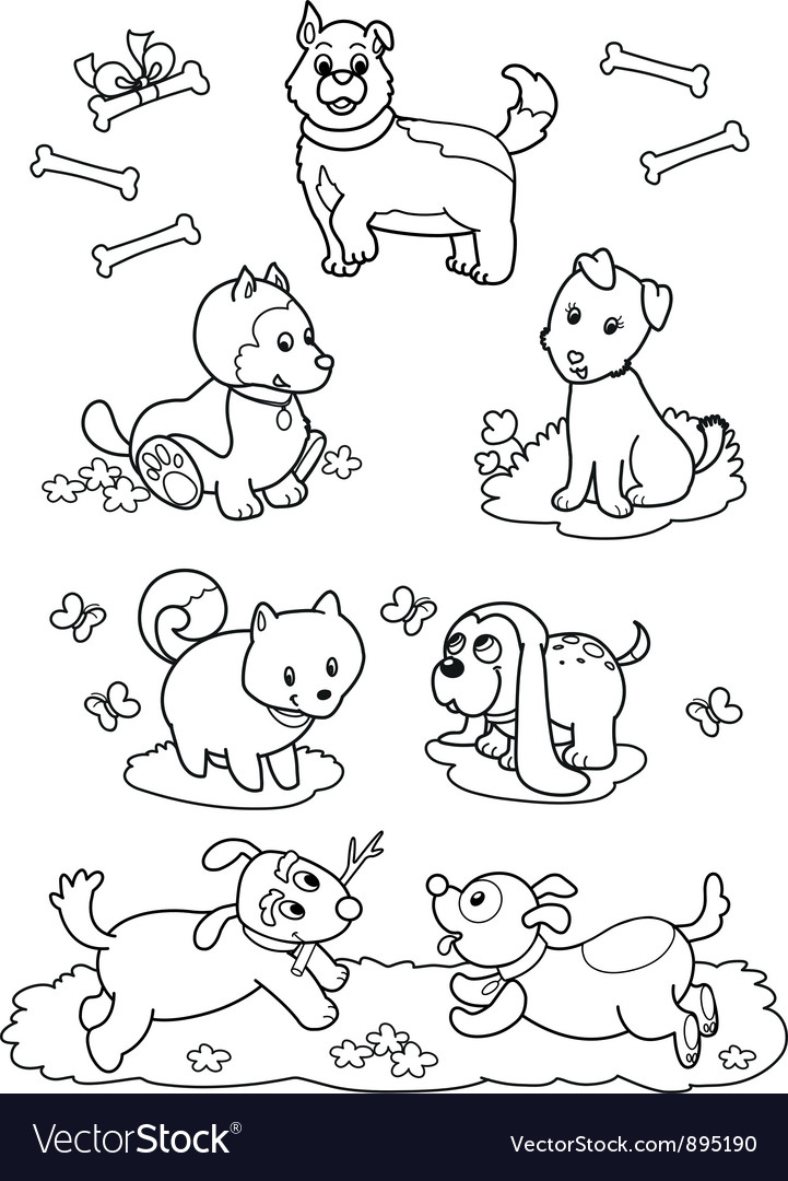 Cute cartoon dogs coloring page