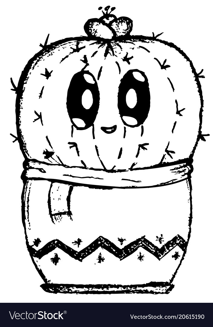 cute shy cactus cartoon easy doodle image vector image