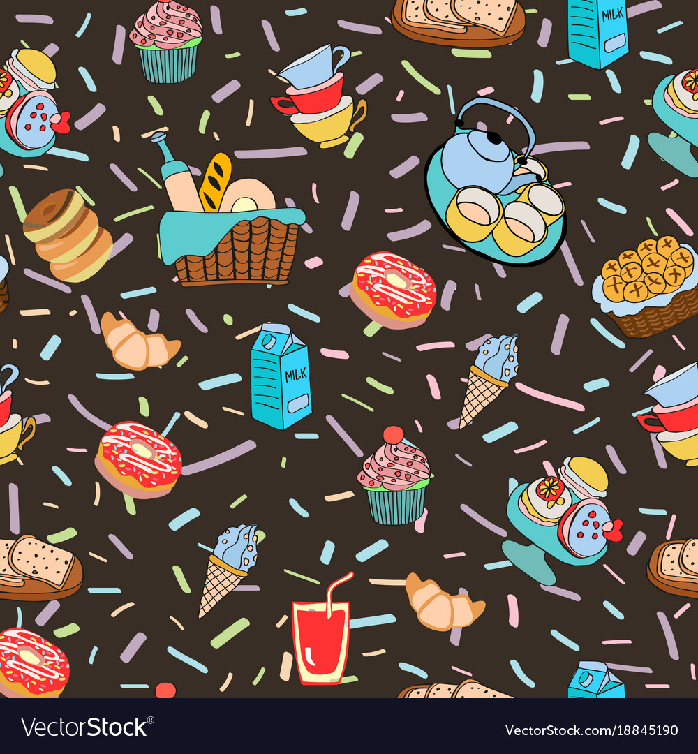 Hand-drawn cartoon background with food and