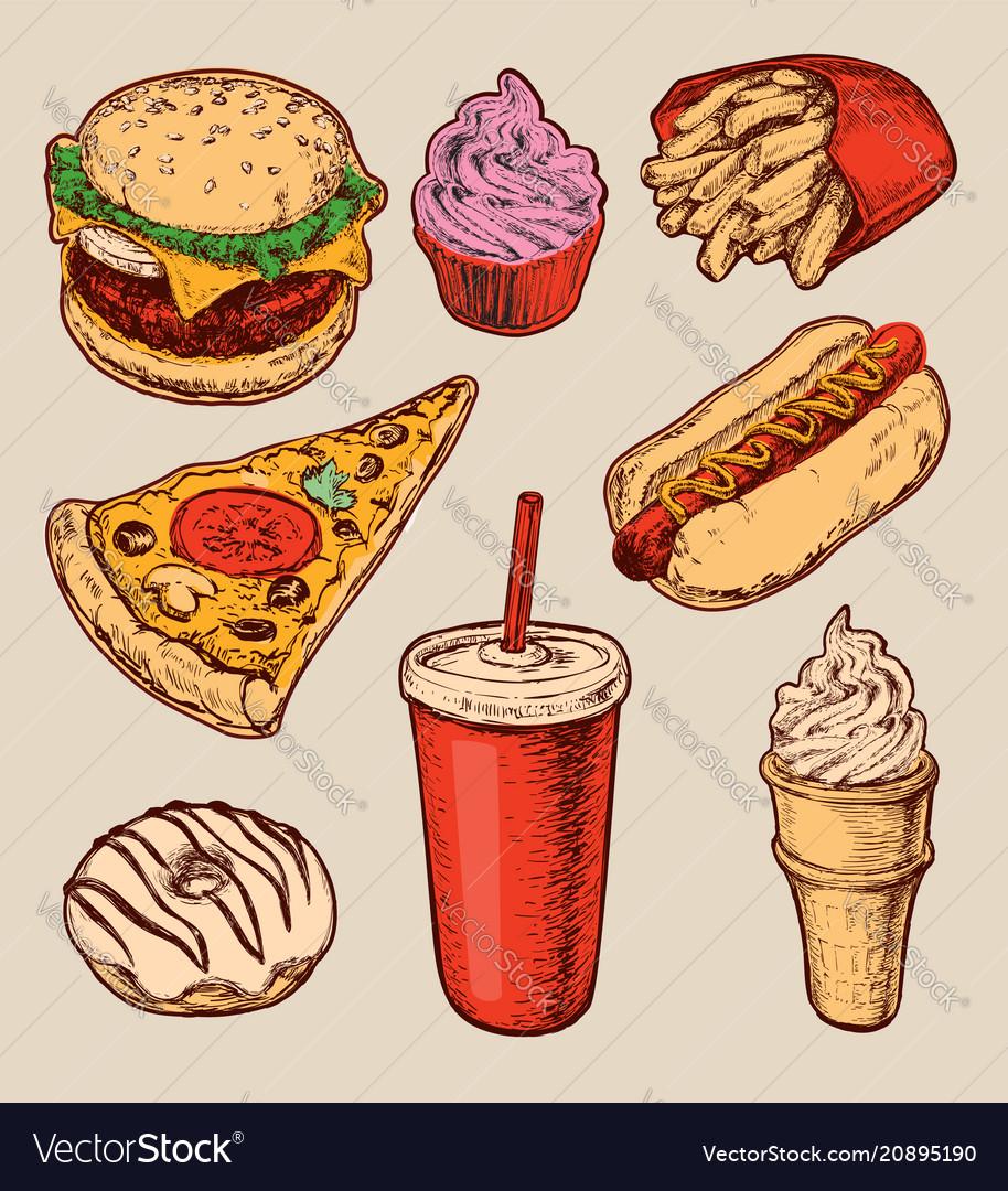 Hand drawn set fast food