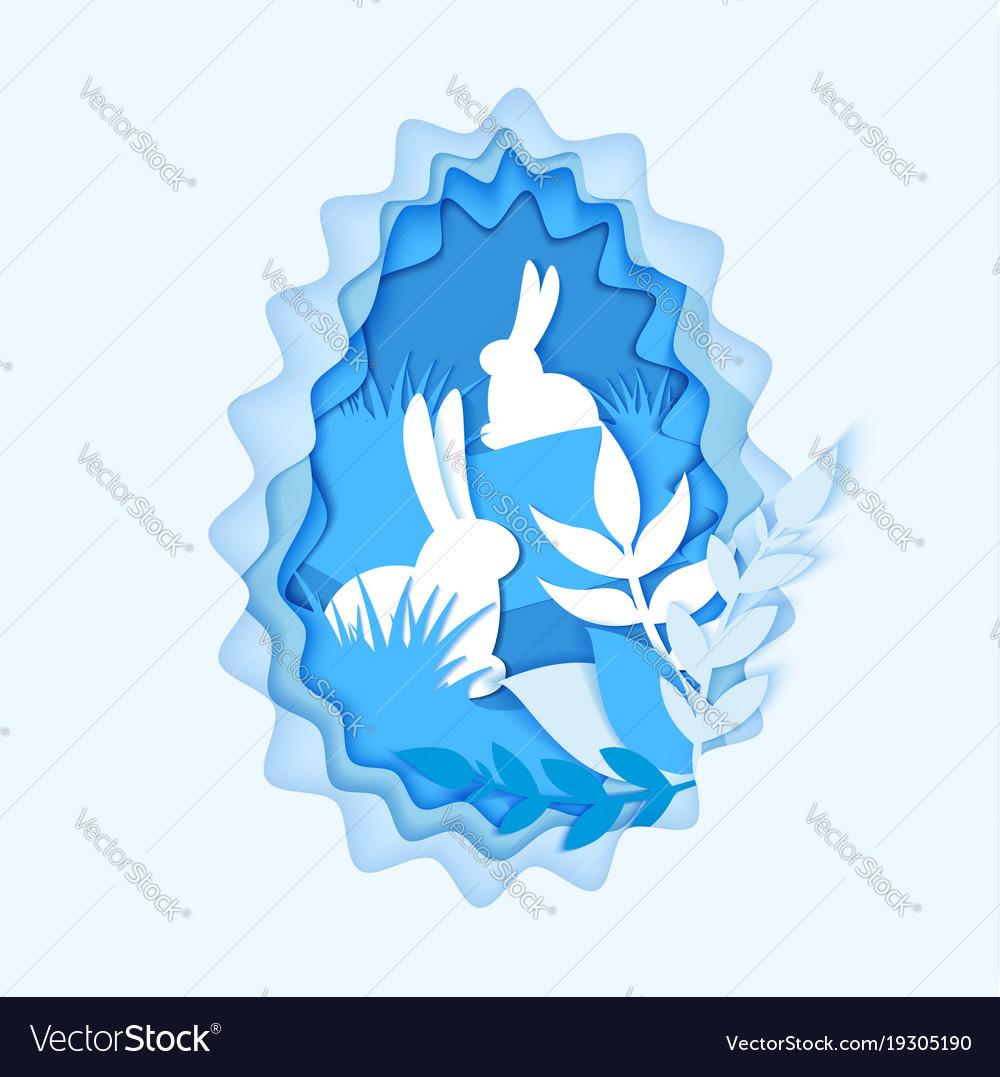 Happy easter seasons greetings paper art carve vector image m4hsunfo