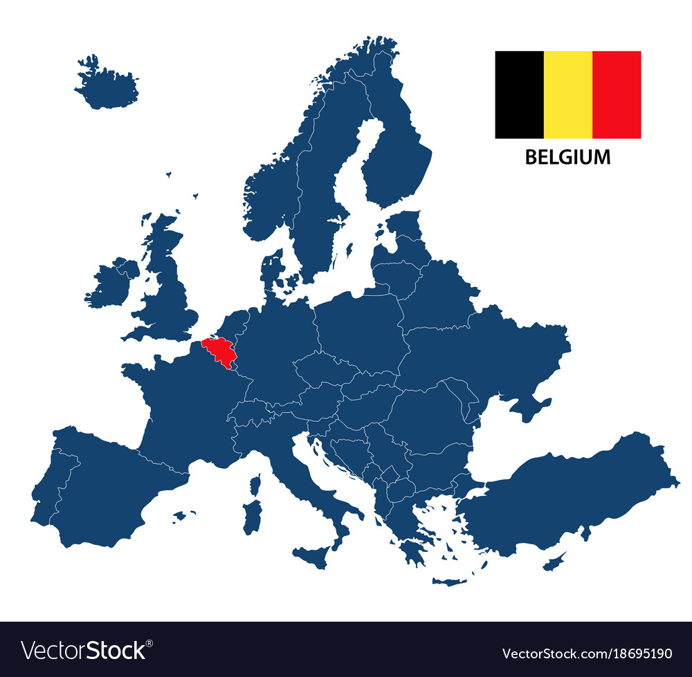 Europe Map Belgium.Map Of Europe With Highlighted Belgium Royalty Free Vector
