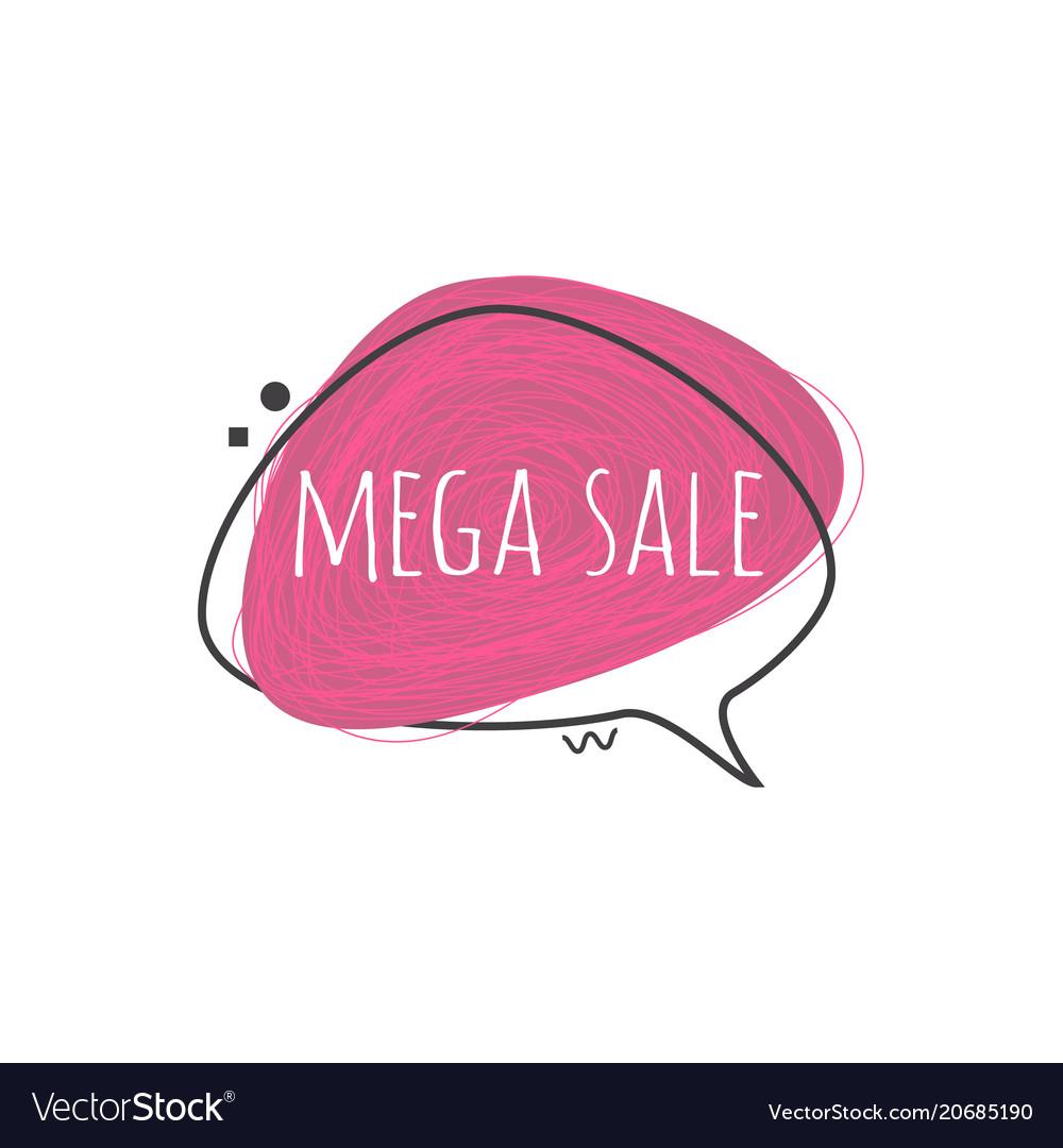 Mega sale sign on grunge textured geometric badge