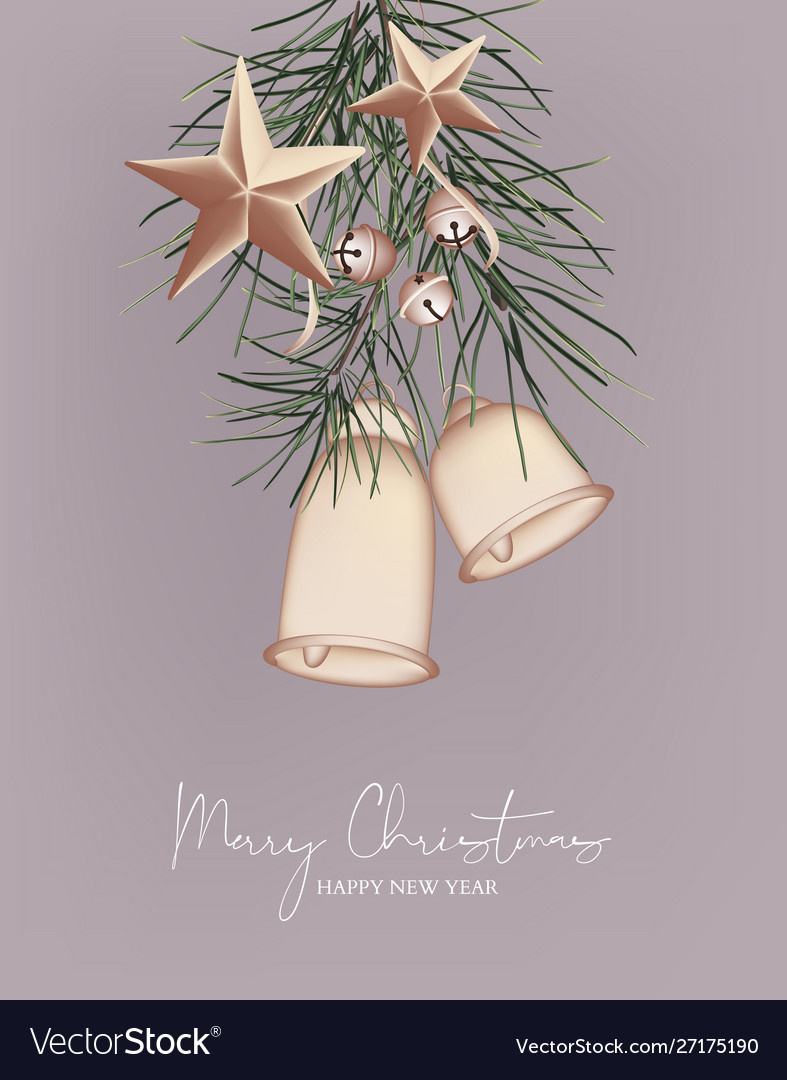 Merry christmas 3d greeting card with bell ring