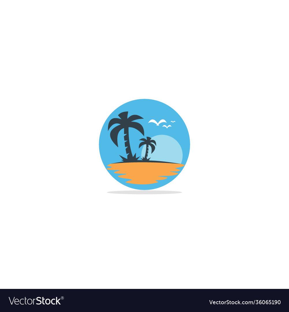 Palm tree beach nature logo