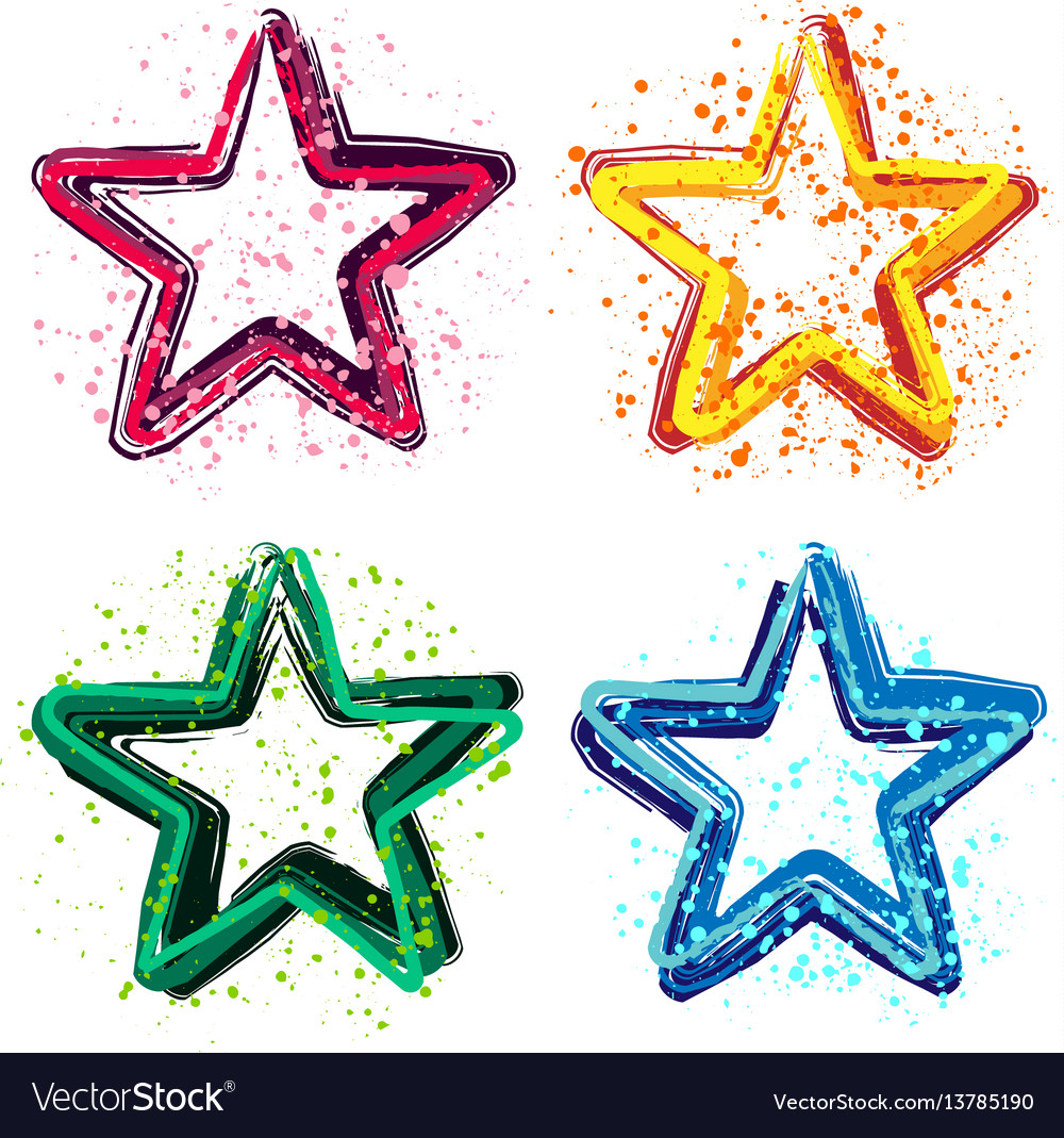 Set of grunge colorful stars
