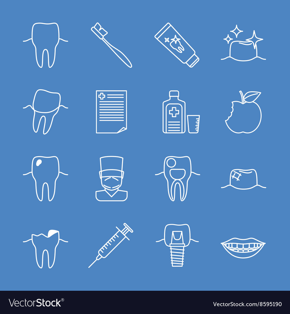 Stomatology dental line icons