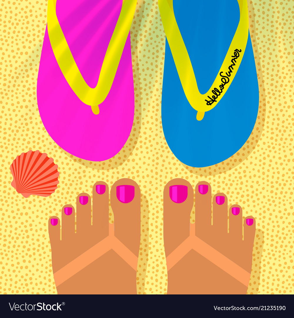 Summer vacation template with tanned womans feet