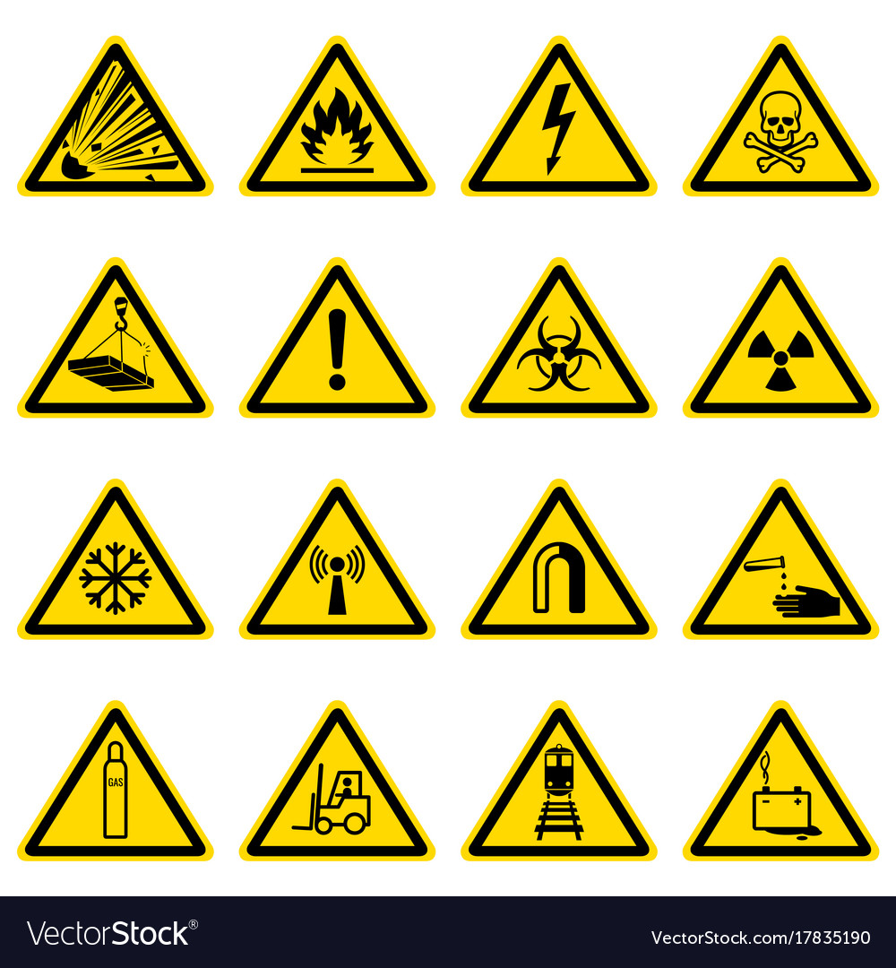Warning And Hazard Symbols On Yellow Triangles Vector Image
