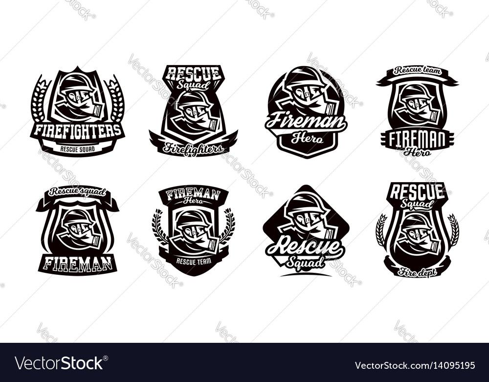 A set of logos emblems a fireman in a gas mask