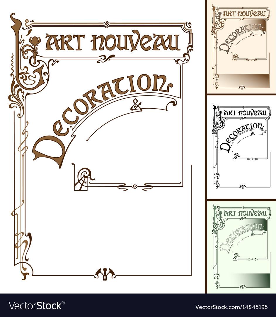 Art nouveau decoration frame vector image