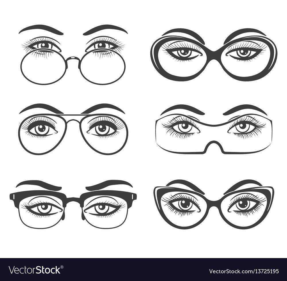 Beautiful female eyes in glasses vector image