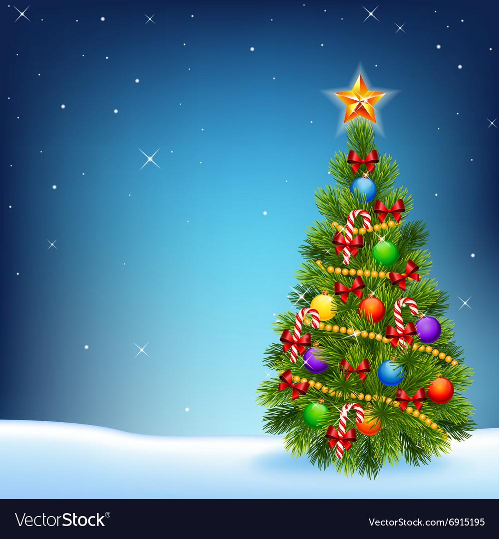 Cartoon of decorated Christmas tree vector image