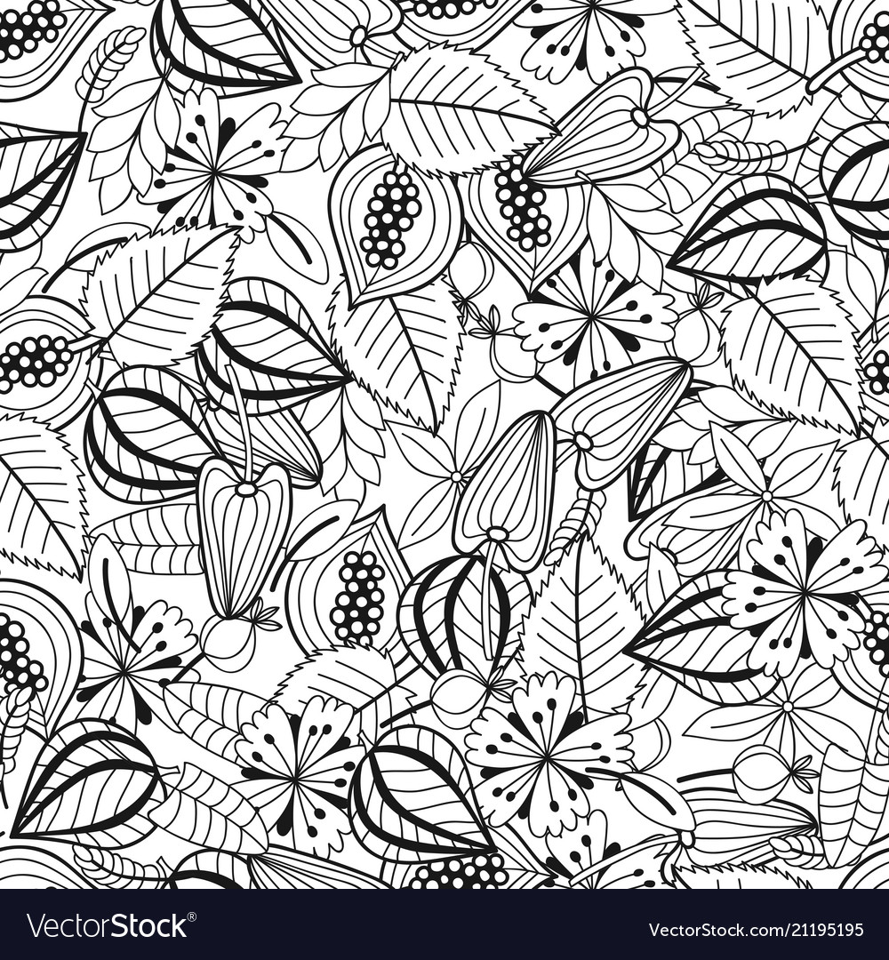 Leaves and flowers black and white vector image
