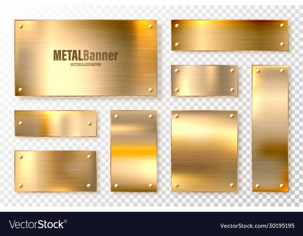 Realistic shiny metal banners set brushed steel