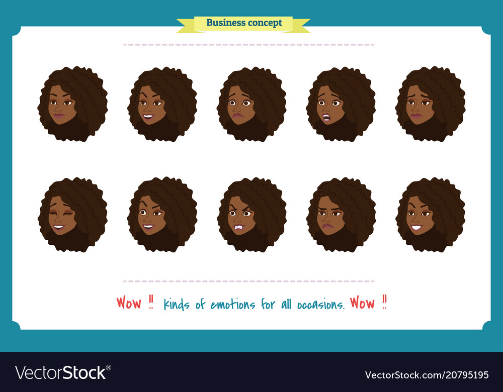 Set of woman expression isolated
