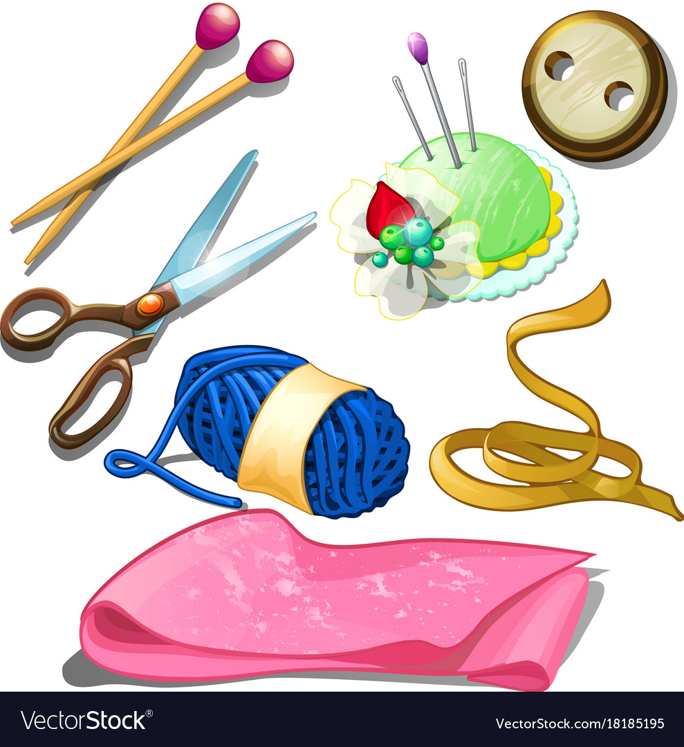 Tools and materials for seamstress icons isolated vector image
