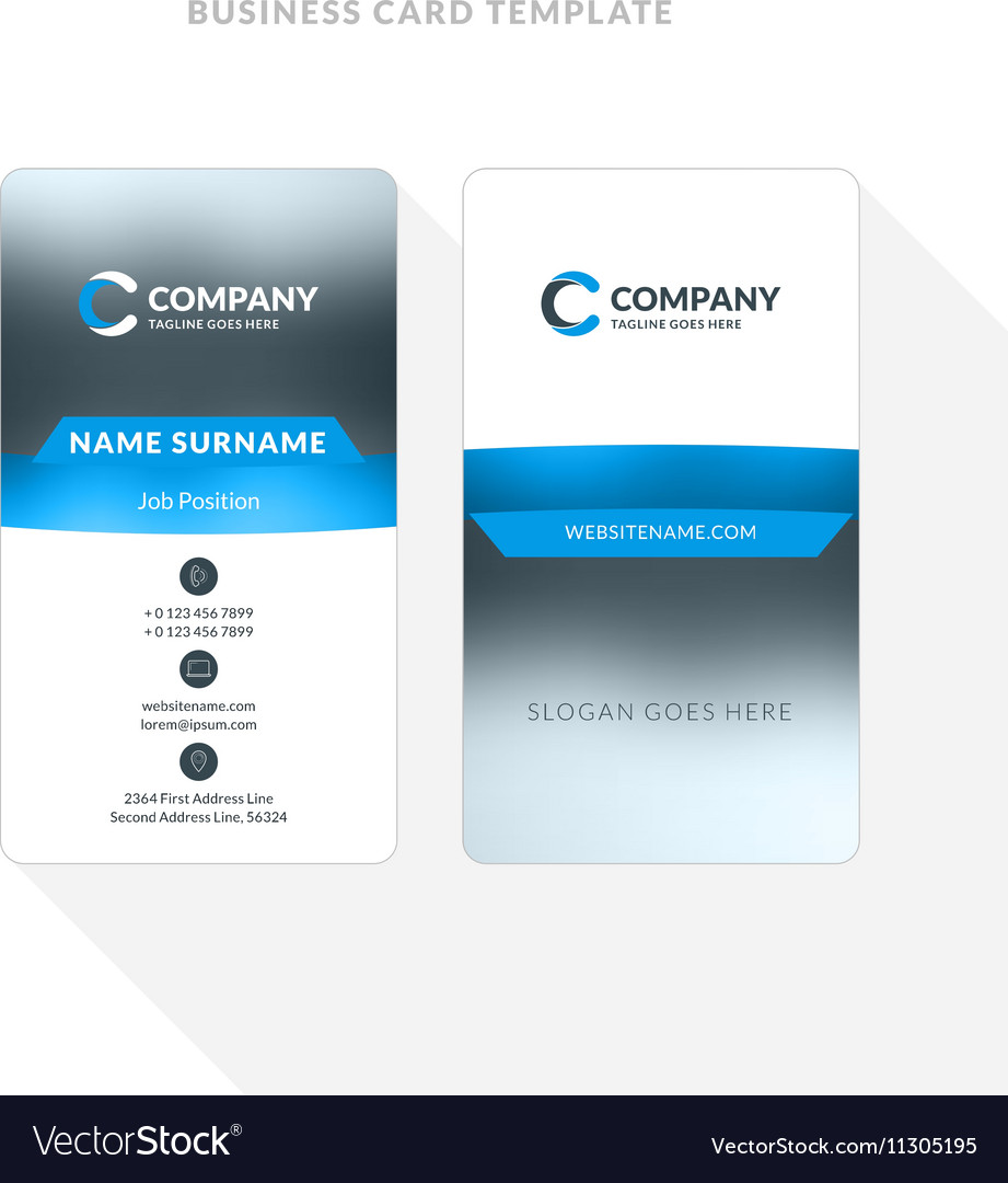 Vertical double sided business card template blue vector image wajeb Choice Image