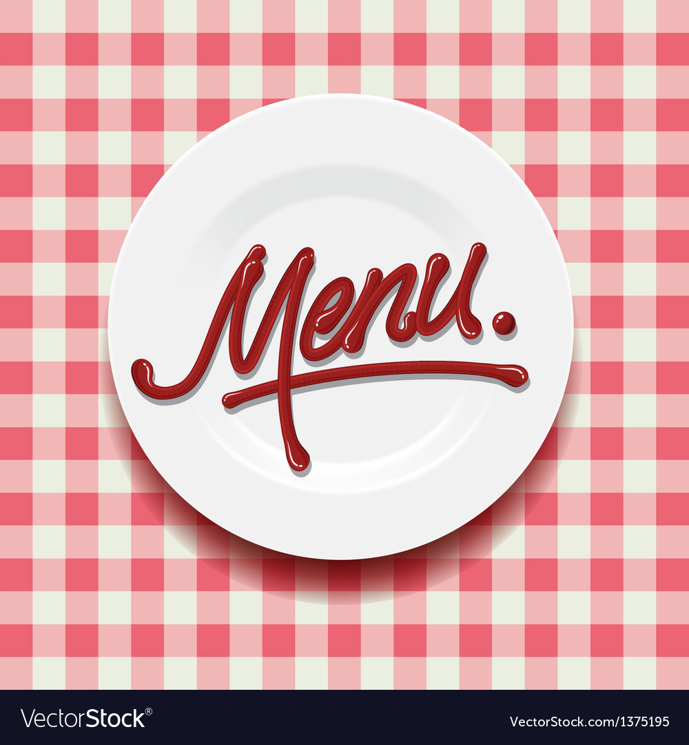 Word Menu - made with red sauce on plate