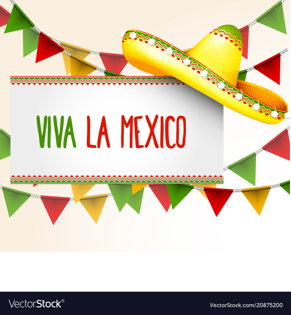 Banner viva la mexico - sombrero and party