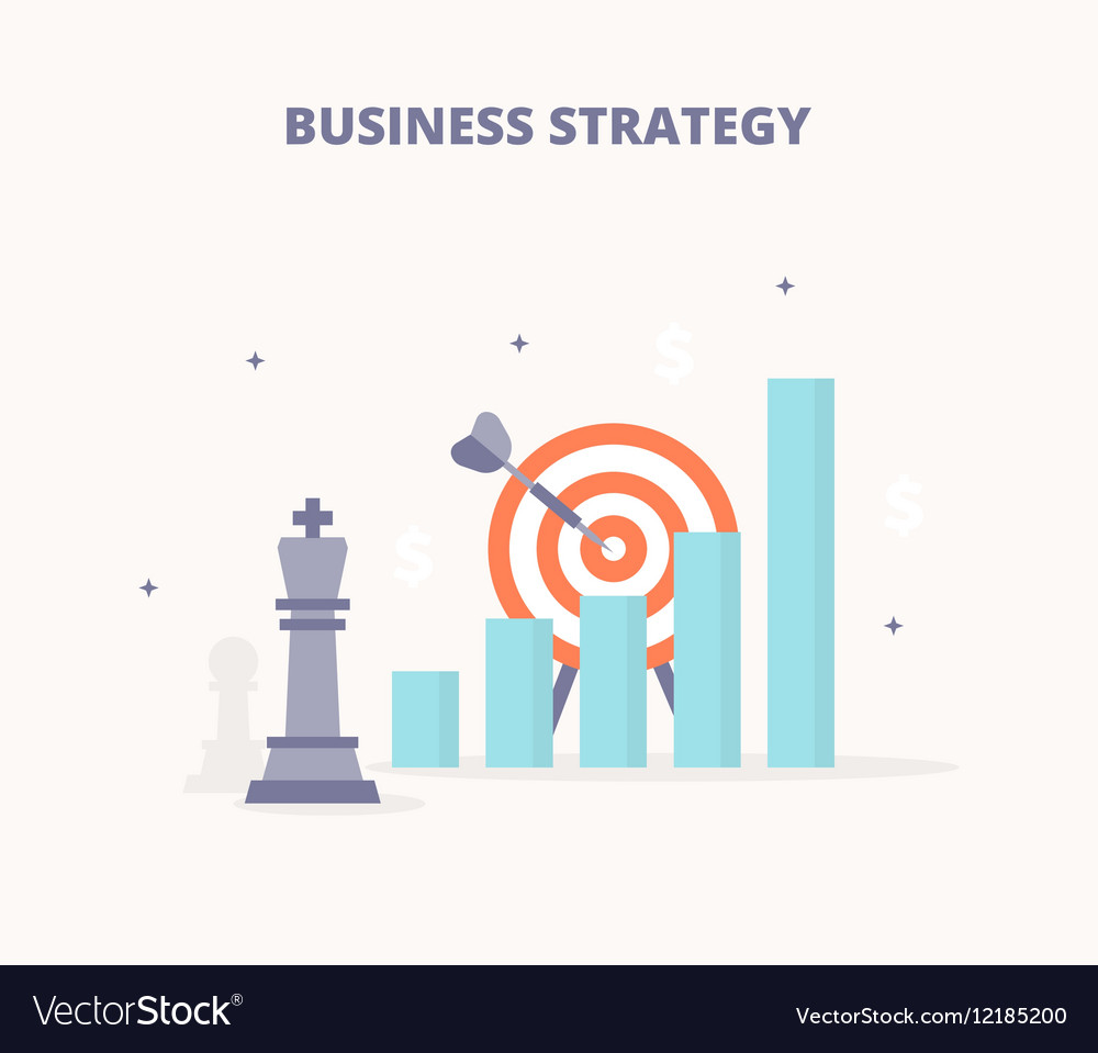 Business strategy Chess king target bar chart vector image