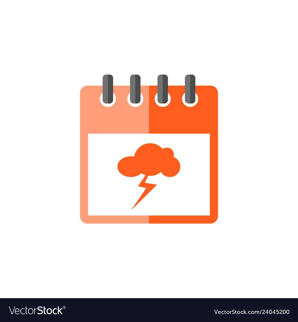 Calendar with storm thunder cloud icon