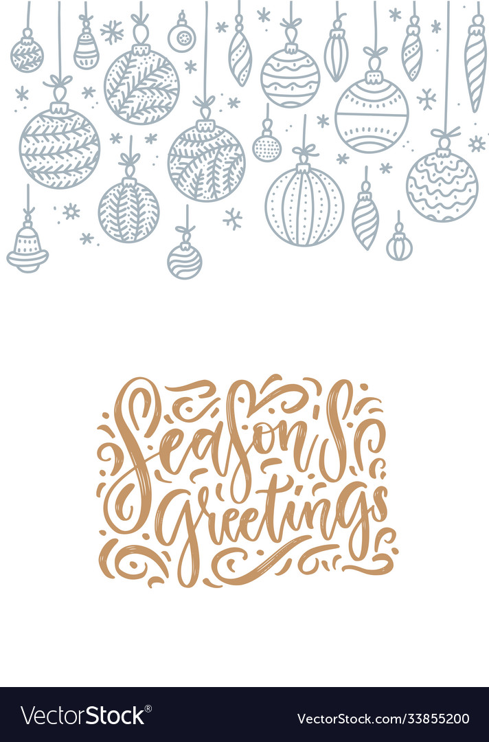 Christmas greeting card with hanging outline
