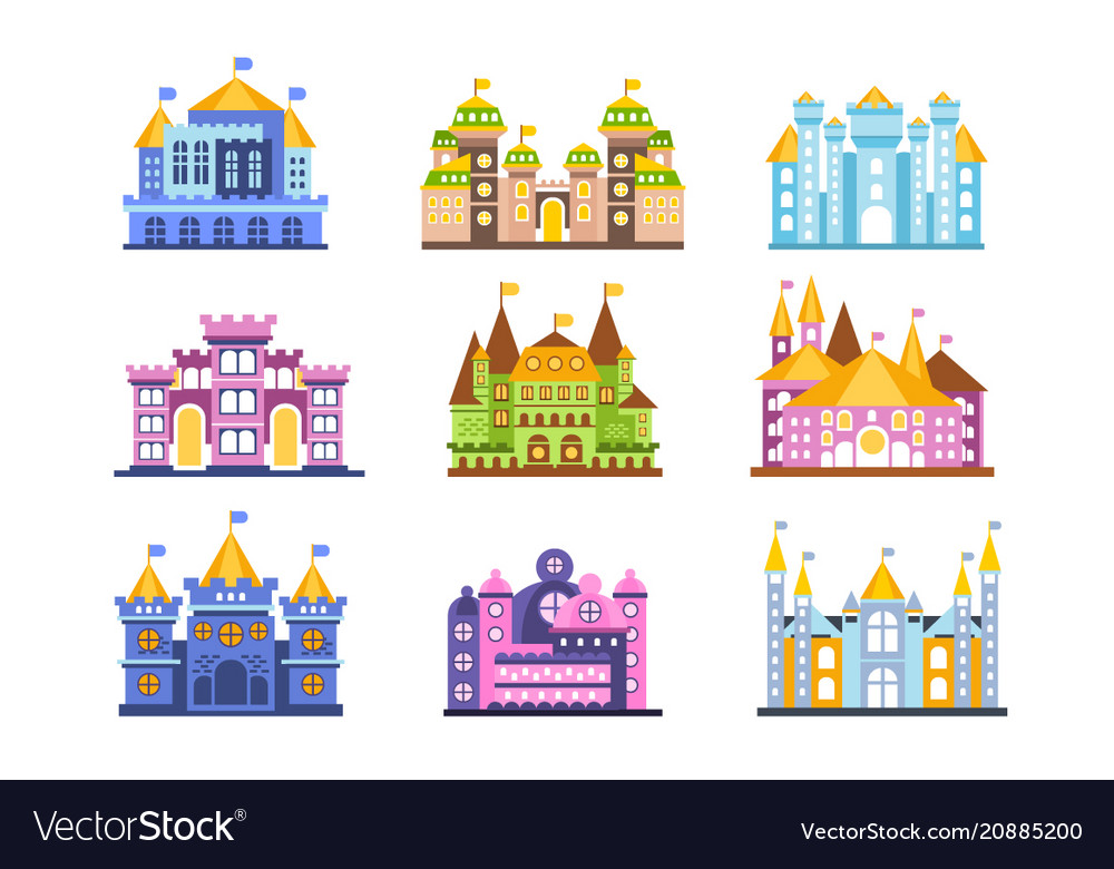 Colorful castles and mansions set collection of