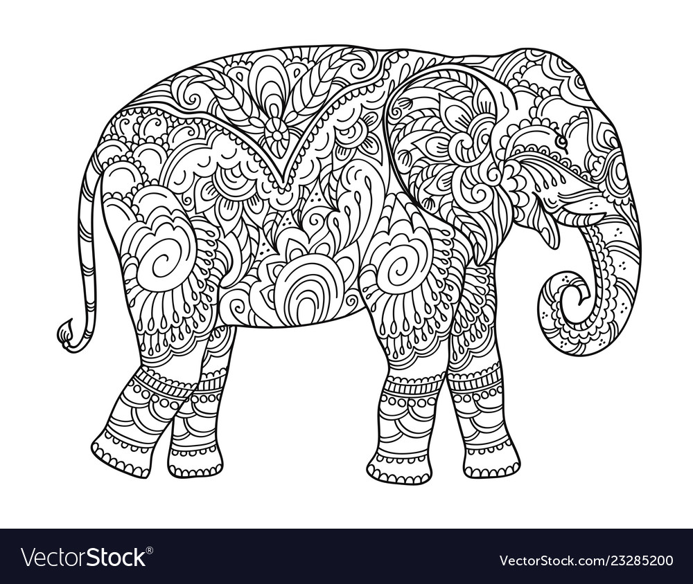 - Drawing Zentangle Elephant For Coloring Book Vector Image