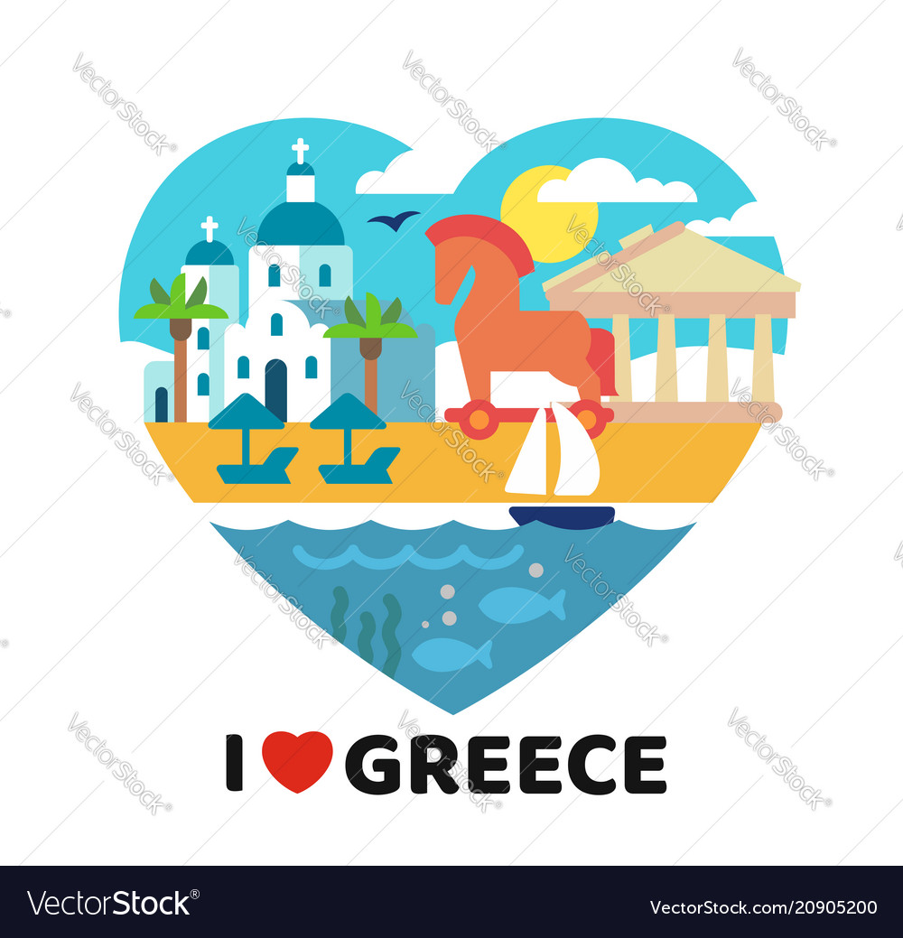Greece landmarks in heart