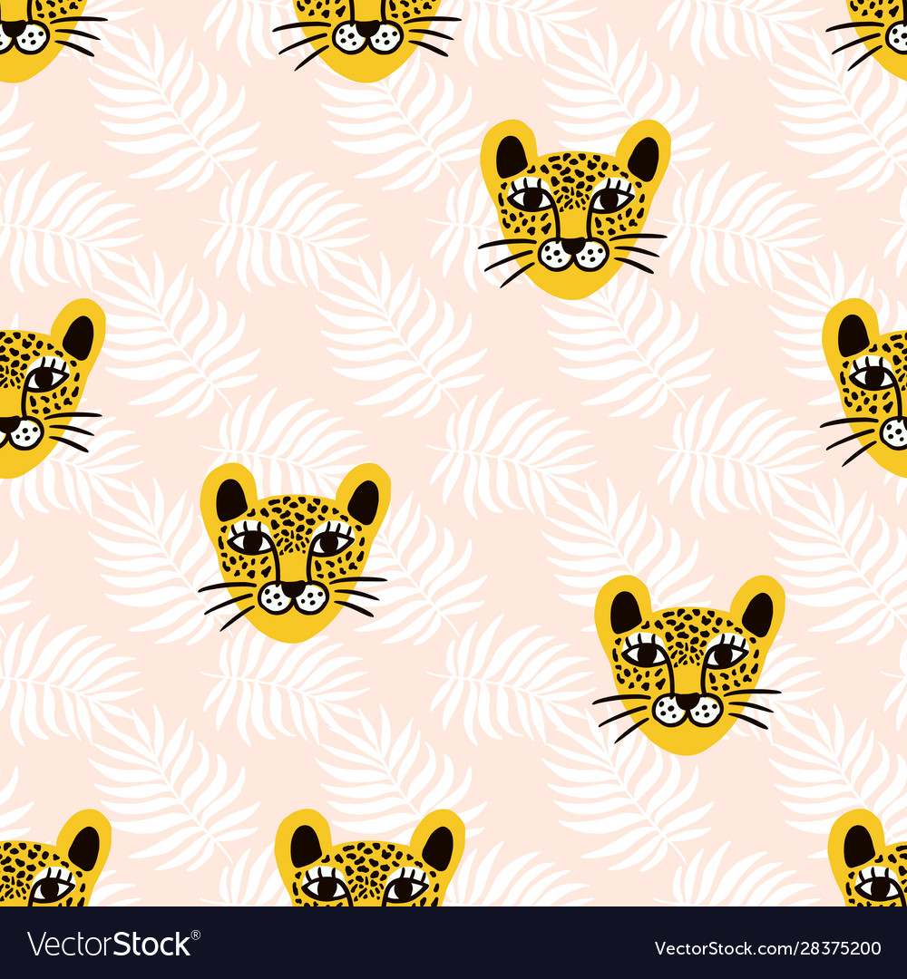 Leopard jungle animal seamless pattern