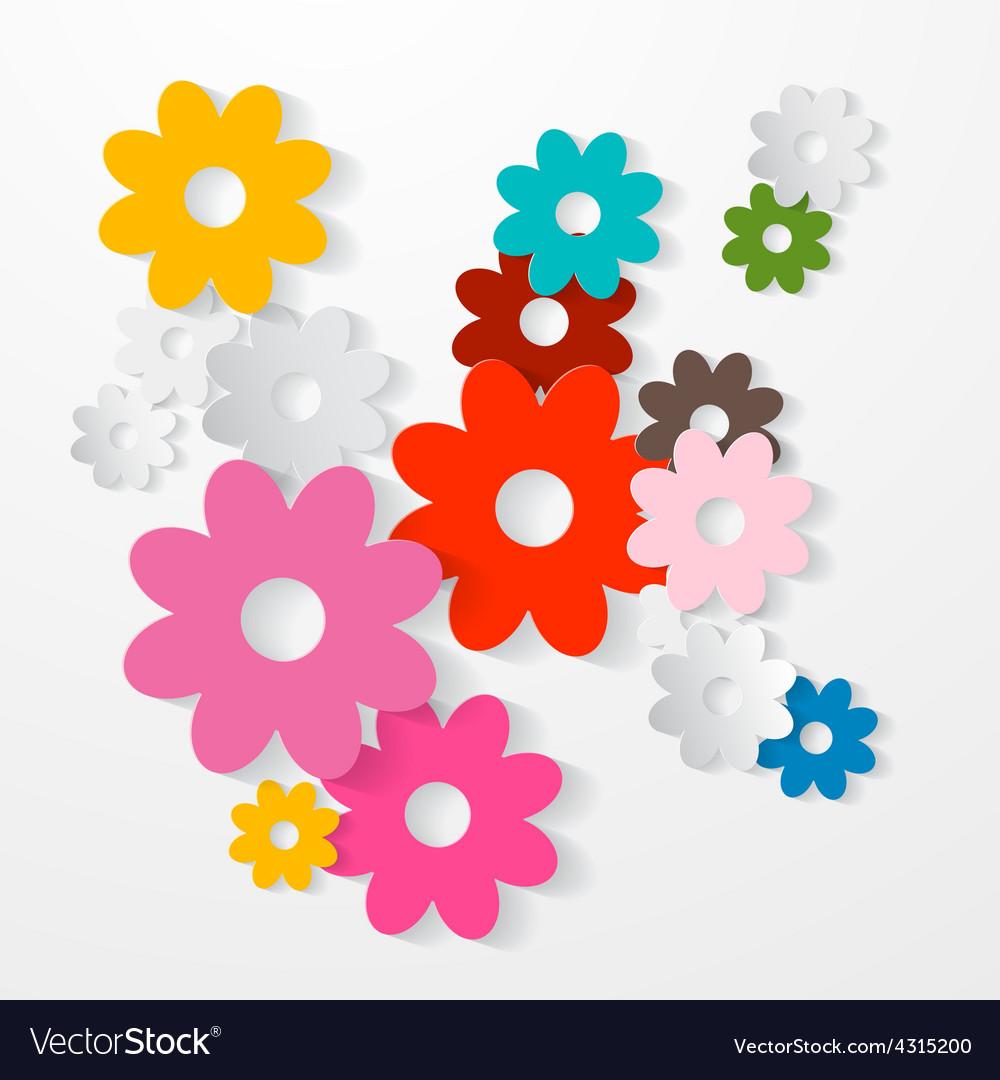 Paper Cut Colorful Flowers Set vector image