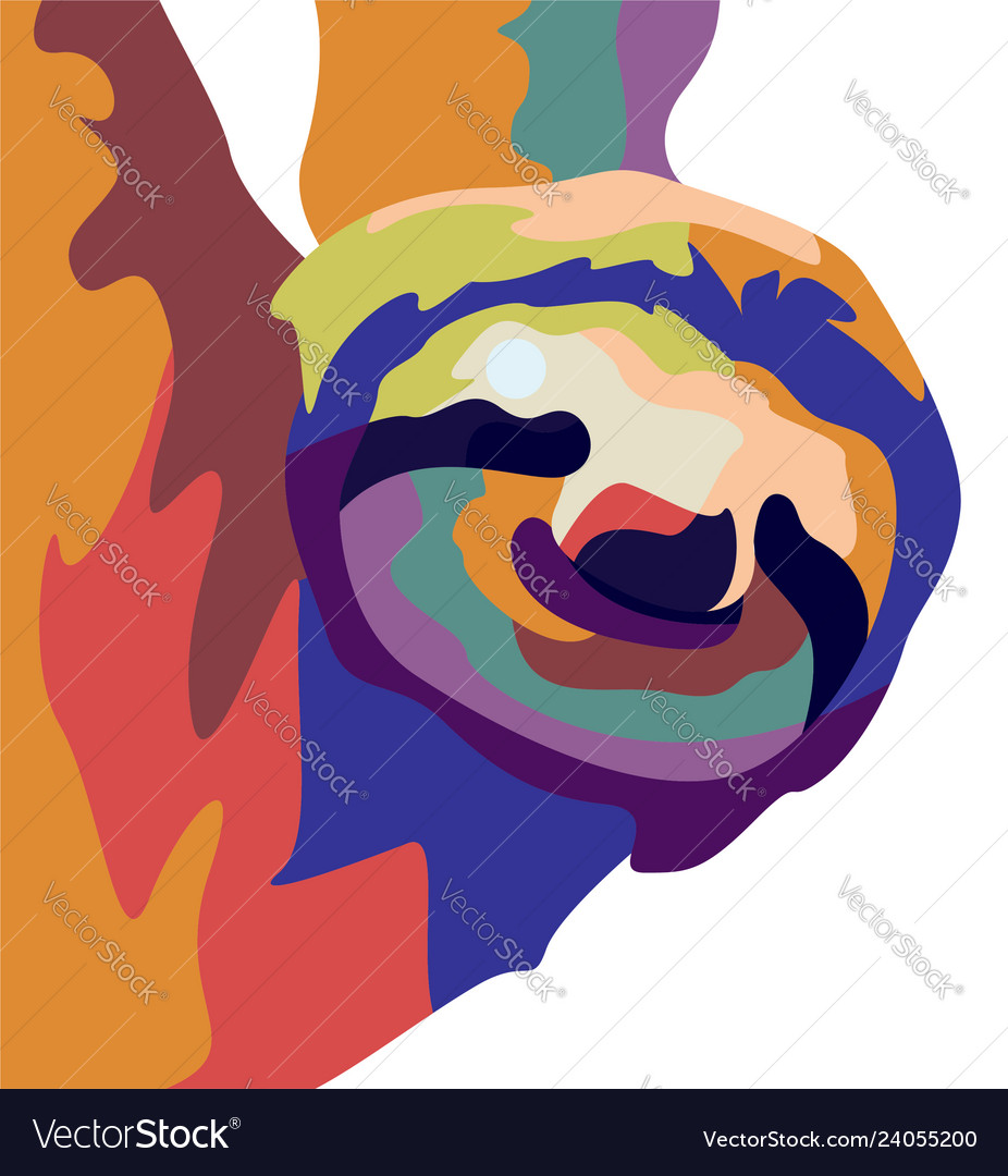Potrait sloth on color abstract