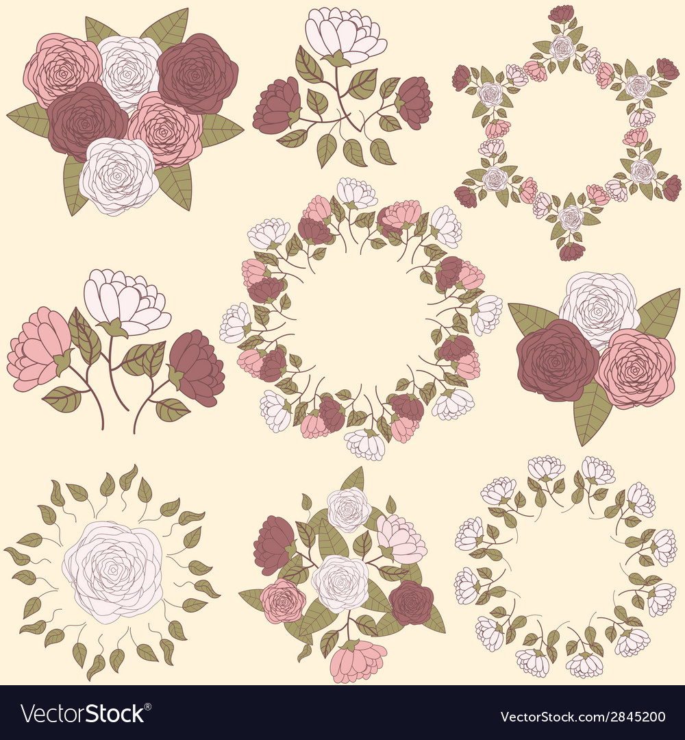 Retro floral wreath and flower bouquet collection