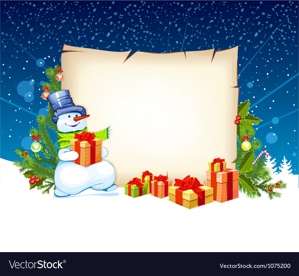 Snowman with empty blank on horizontal background