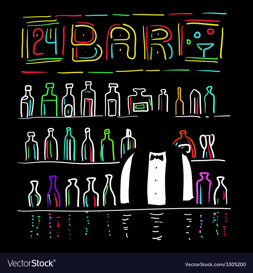 The bartender and bar vector image