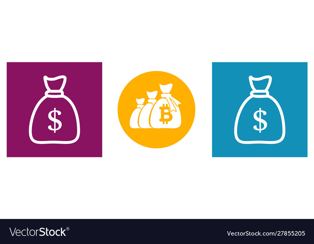 Bag money set modern icons in different