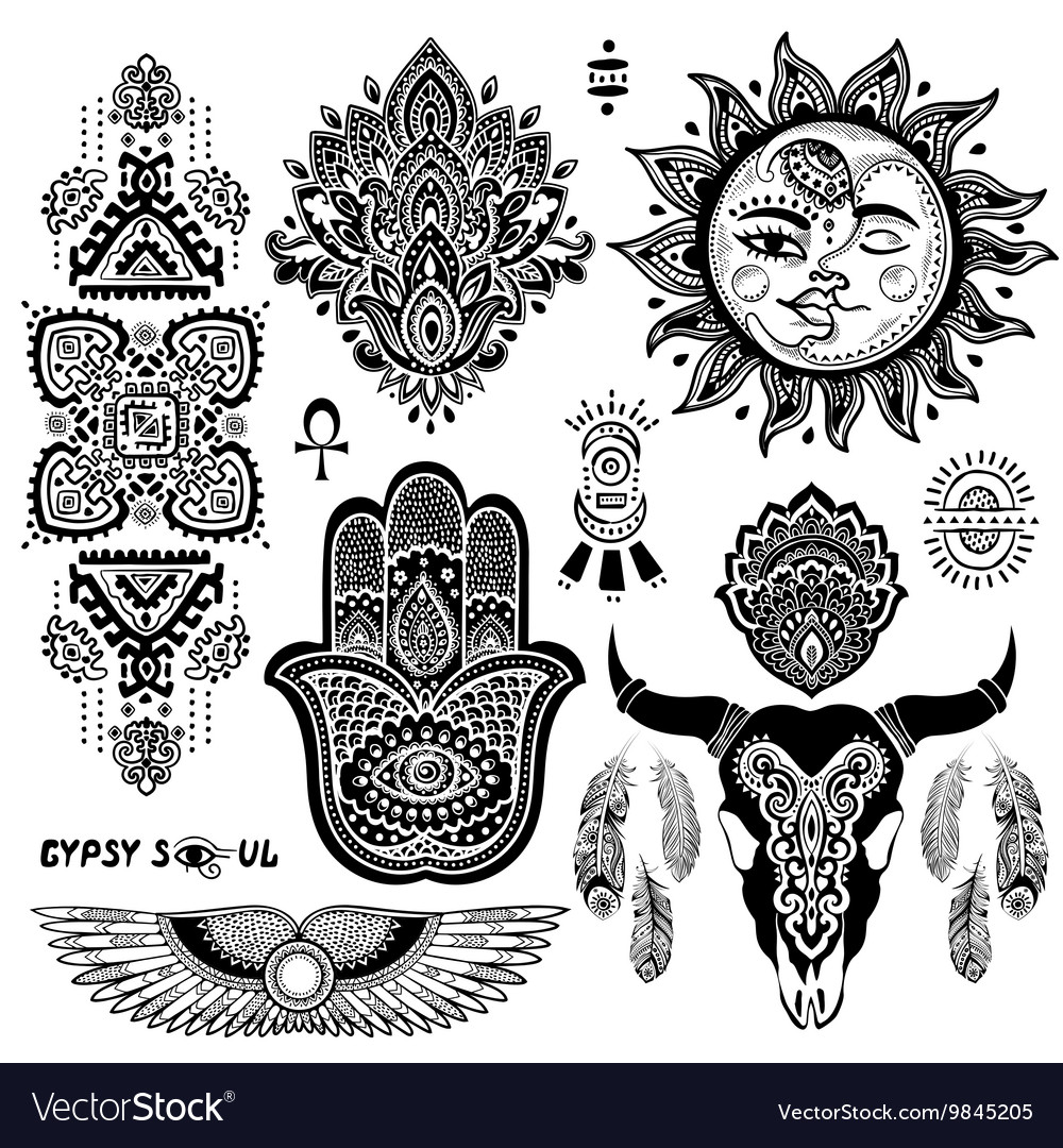 bohemian style flash tattoo symbols royalty free vector