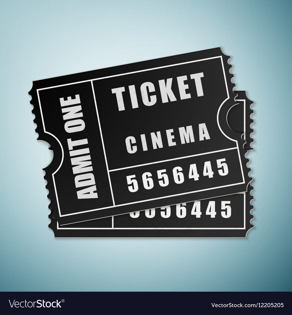 Cinema black ticket icon isolated on blue